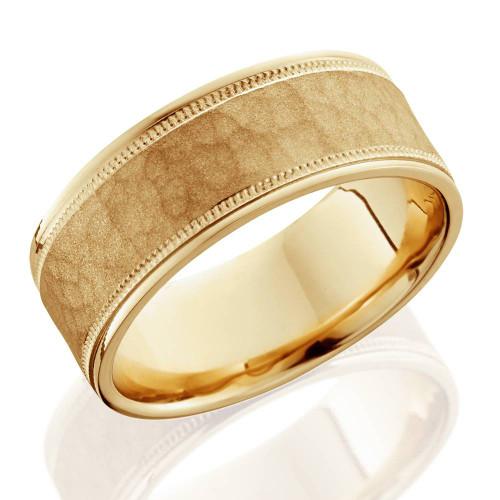 8mm Hammered Mens Wedding Band 14K Yellow Gold