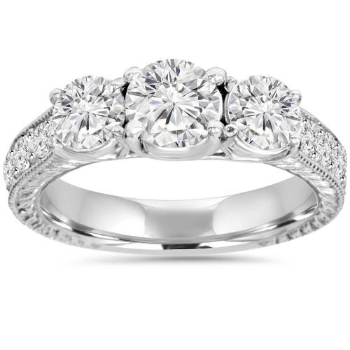 1 3/4ct Diamond Vintage 3-Stone Engagement Ring 14K White Gold Antique (G/H, I2)