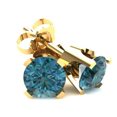 .75Ct Round Brilliant Cut Heat Treated Blue Diamond Stud Earrings in 14K Gold Classic Setting (Blue, SI2-I1)