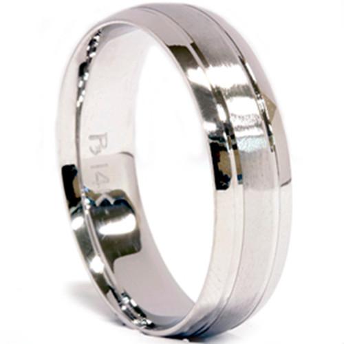 Mens 14K White Gold 6mm Brushed Wedding Band Ring New