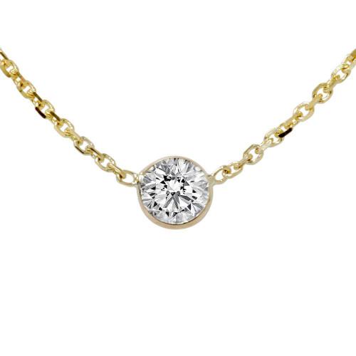 1/3ct Genuine Round Brilliant Cut Bezel Solitaire EX3 Diamond Pendant 14K Gold (J, VVS)