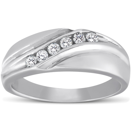 Mens 14K White Gold 1/4ct Diamond Wedding Ring High Polished Smooth Band (G/H, I1)