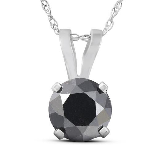 """1 CT Black Diamond Solitaire Pendant-Necklace in White Gold on an 18"""" Chain (Black, AAA)"""