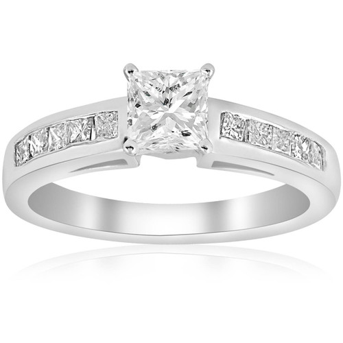 1 1/4ct Princess Cut Diamond Engagement Ring 3/4ct ctr 14K White Gold (G/H, I1)
