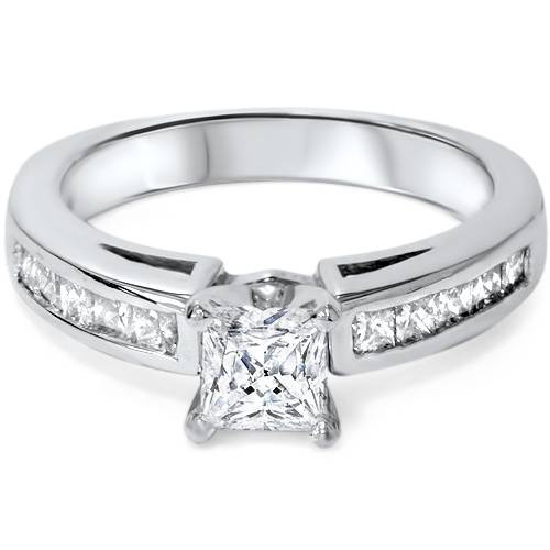 1 1/4ct Princess Cut Diamond Engagement Ring 3/4ct ctr 14K White Gold (G/H, I1)