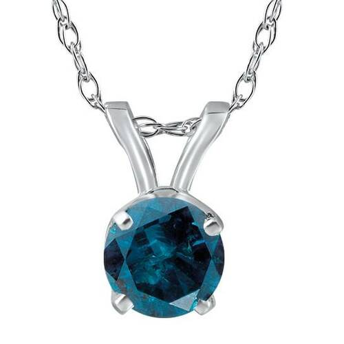 2ct Blue Diamond Solitaire 14K White Gold Pendant (Blue, I1-I2)