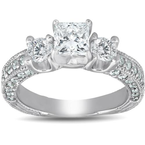 2 1/4ct Princess Cut 3 Stone Enhanced Diamond Vintage Engagement Ring 14K (H, I1)