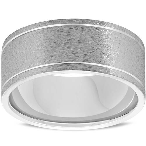 Mens 14K White Gold Comfort Fit Brushed New Wedding Ring Band