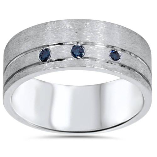 1/10ct Mens Blue Diamond Comfort Fit Brushed Wedding Band 10K White Gold (Blue, I1-I2)