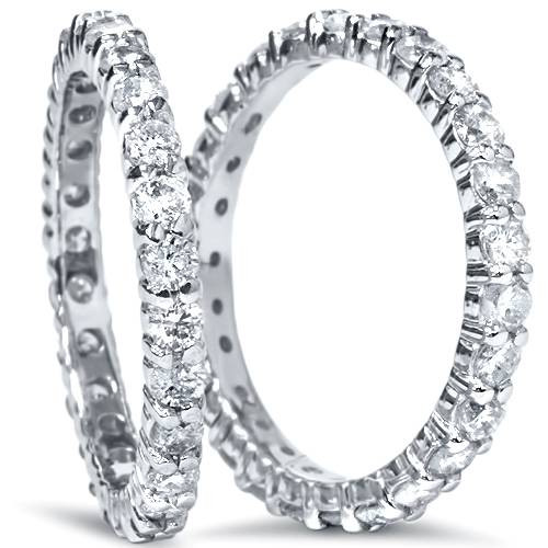 2ct Matching Diamond Eternity Wedding 14K Ring Set (G/H, I2)