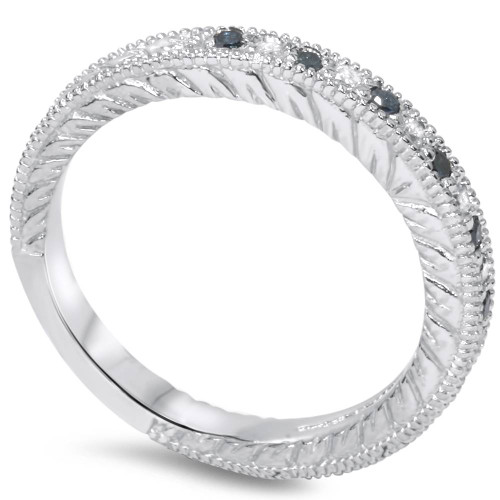 1/6ct Blue & White Diamond Vintage Wedding Ring 14K White Gold (G/H, I1-I2)
