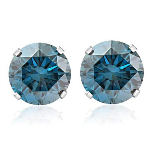 1ct Blue Diamond Studs 14K White Gold (Blue, I1)