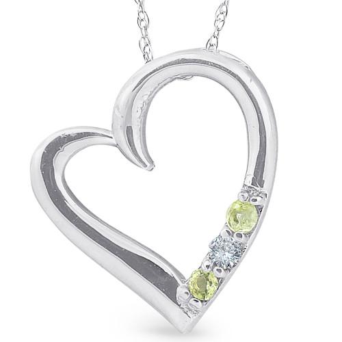 "Diamond & Peridot Heart Pendant 3-Stone 10K White Gold with 18"" Chain (G/H, I2)"