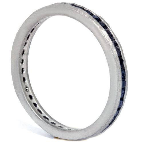 1/2ct Raw Black Diamond Channel Set Eternity Ring 14K White Gold