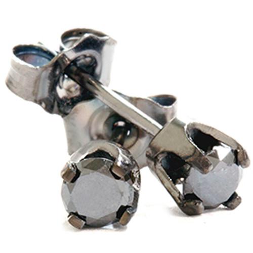 1/3ct Black Diamond Studs 10K White Gold (Black, AAA)