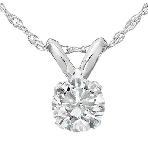 1/4ct Solitaire Diamond Pendant Necklace 14K White Gold (J-K, I2-I3)