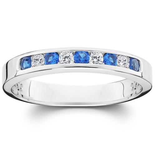 1/4ct Diamond & Blue Sapphire Anniversary Wedding Ring 14k White Gold (H, I2/I3)