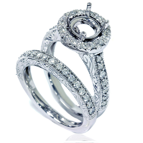 1ct Vintage Engagement Ring Set Semi Mount 14K White Gold (G/H, I1-I2)