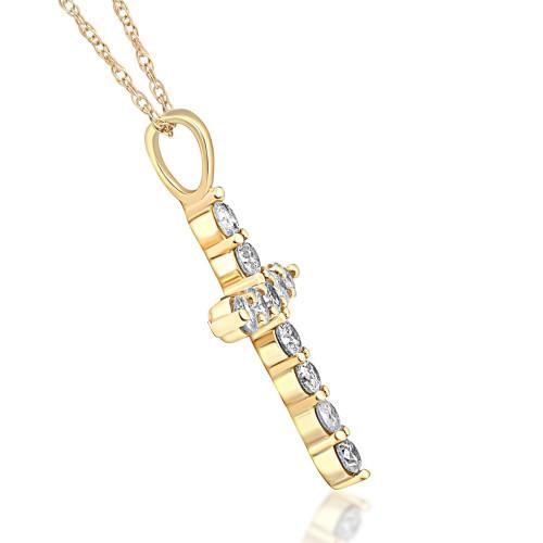 1/2ct Yellow Gold Diamond Cross Pendant 14K Necklace (G/H, I1)