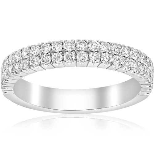 3/4ct Diamond Double Row Stackable 1/2 Eternity Ring 18k White Gold (F, VVS)