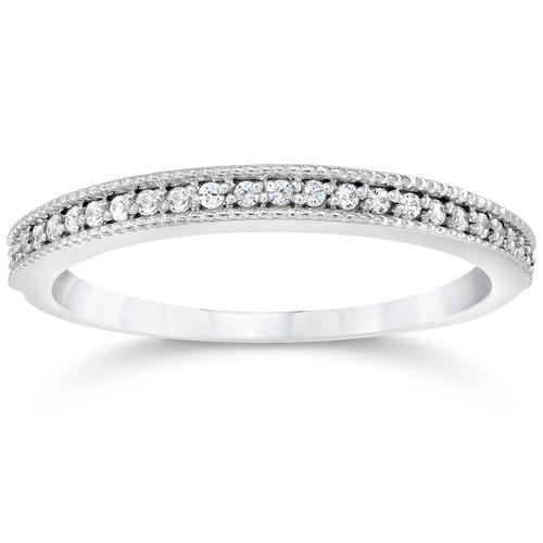 1/8Ct Diamond Wedding Ring 14K White Gold Lab Grown Eco Friendly ((G-H), SI(1)-SI(2))
