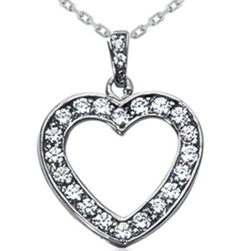 3/4ct Diamond Heart Pendant 14K White Gold Necklace New (G/H, I2)