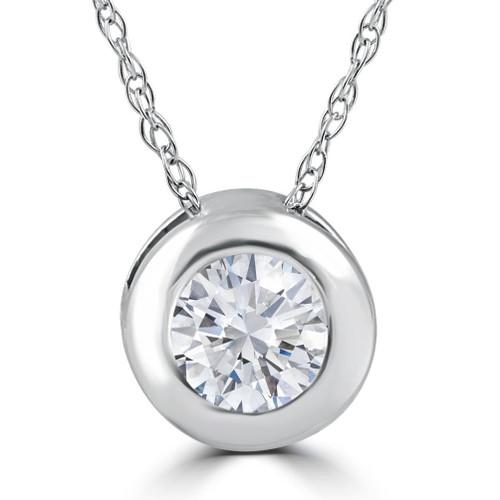 1/3ct Round Bezel Solitaire Diamond Pendant Necklace 14K White Gold (H/I, I2/I3)