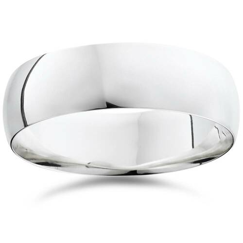 7mm Dome High Polished Wedding Band 14K White Gold