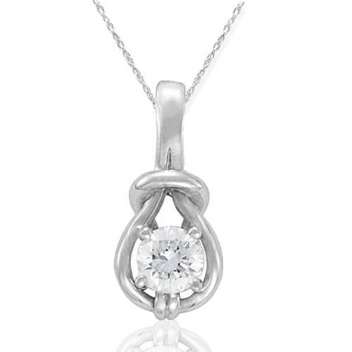 1/3ct Real Diamond Solitaire Everlong Knot Round Pendant 14K White Gold Karat (G/H, I1)
