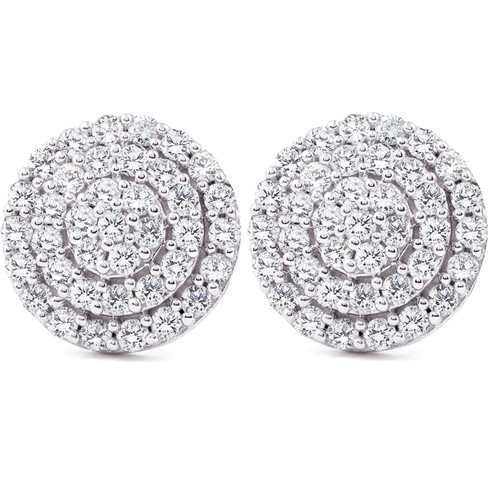 1ct Pave Diamond Double Halo Studs 10K White Gold (I-J, I2-I3)