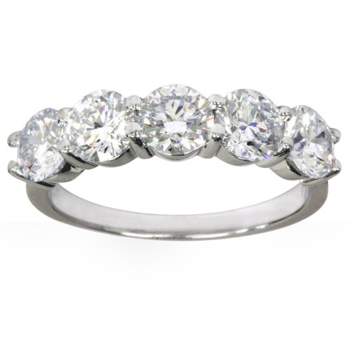 2 1/2Ct Five Stone Lab Grown Diamond Wedding Ring 14k White Gold (((G-H)), SI(1)-SI(2))