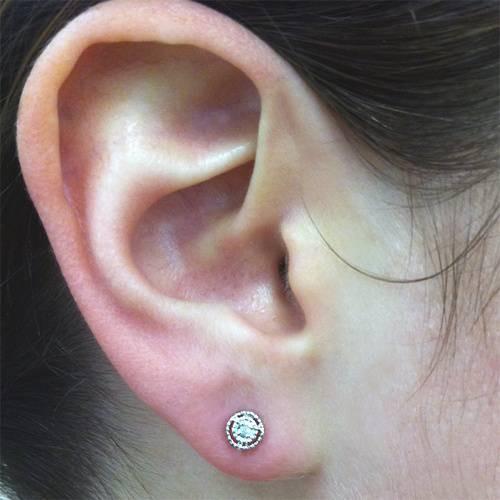 1/4ct Diamond Matching Pendant & Earring Vintage Style Set 10K White Gold (H/I, I2/I3)