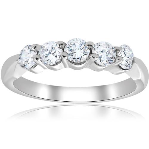 1/2ct Round Diamond Wedding Ring 14K White Gold Five Stone (G, I1)