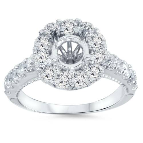 1ct Halo Diamond Engagement Ring Setting 14K White Gold (G/H, I1)