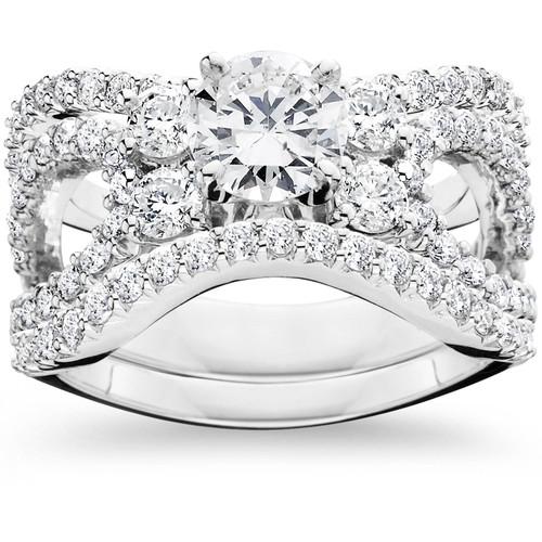 4.00CT Diamond Engagement Trio Wedding Ring Set 14K White Gold (H/I, I1-I2)