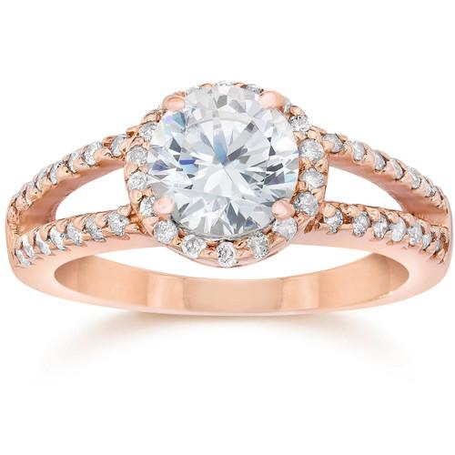 2.00CT Split Shank Diamond Halo Engagement Ring 14K Rose Gold (H/I, SI2-I1)