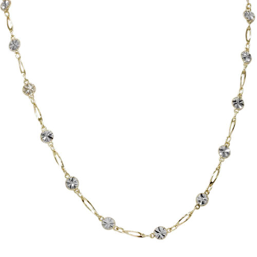 """18"""" 14K White & Yellow Gold Two Tone Chain Womens Necklace"""