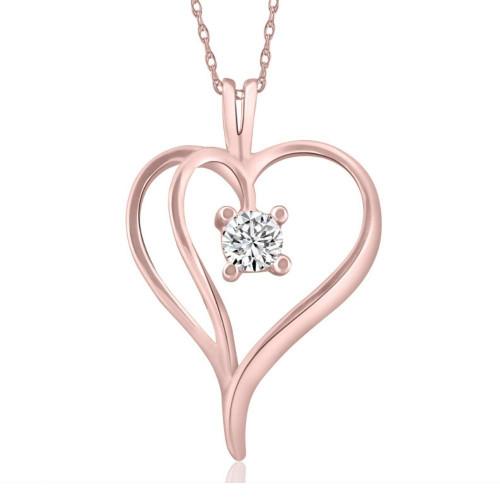 """1/3Ct Solitaire Round Diamond Heart Pendant & Chain 14K Rose Gold 1"""" Tall (G/H, I2)"""