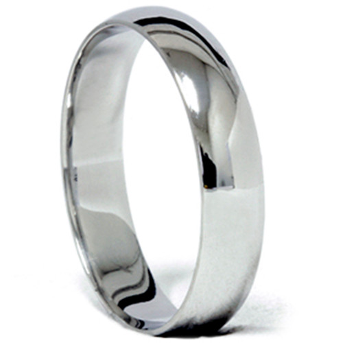 5mm Plain Polished Platinum Comfort Wedding Ring