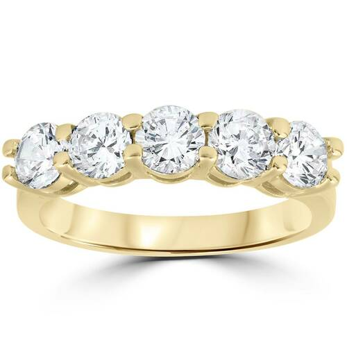 2 ct Diamond Five Stone Wedding Anniversary Round Cut Ring 14k Yellow Gold (H-I, I1)