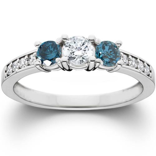 1ct Blue Diamond 3 Stone Engagement Ring 14K White Gold (G/H, I1)