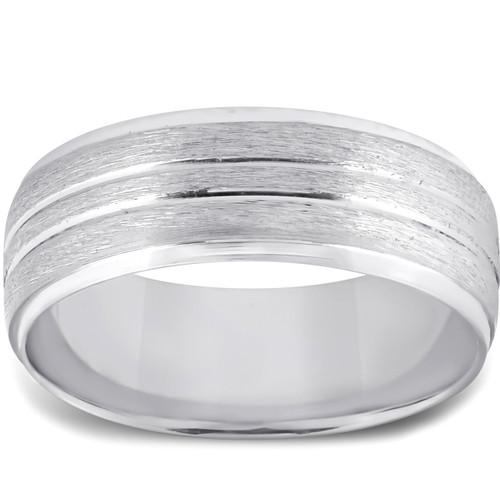 Mens 14k White Gold Comfort Fit Brushed Wedding Band Ring