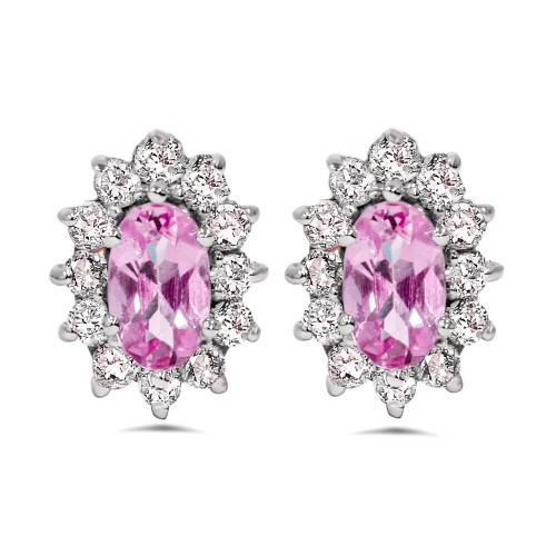 3/4ct Halo Diamond Pink Topaz Studs 14K White Gold (G/H, I1-I2)