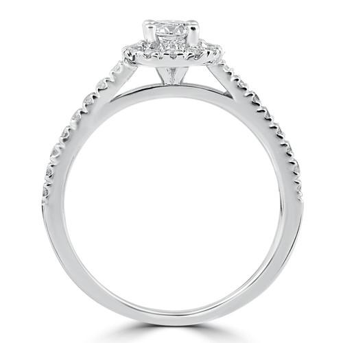 3/4ct Round Diamond Halo Engagement Ring 14K White Gold (G/H, SI2-I1)