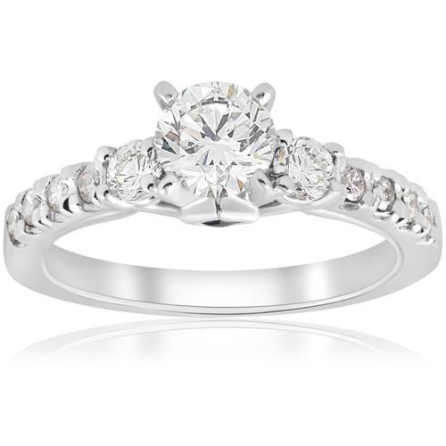 1ct Diamond & Princess Cut Blue Sapphire 3 Stone Engagement Ring 14K White Gold (G/H, I1-I2)