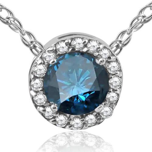 "1/2ct Blue Diamond Pave Halo Pendant 14K White Gold Womens Necklace & 18"" Chain (G/H, I2-I3)"