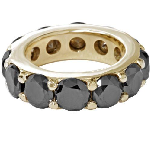 12 1/2ct Black Diamond Eternity Ring 14K Yellow Gold (Black, )