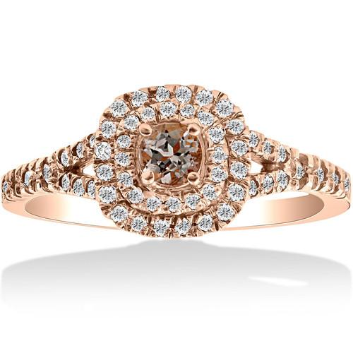 1ct Cushion Double Halo Morganite & Diamond Engagement Ring 14k Rose Gold (H/I, I1-I2)
