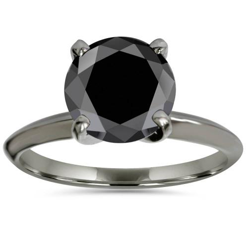 2ct Black Diamond Solitaire Engagement Ring 14K Black Gold (Black, )