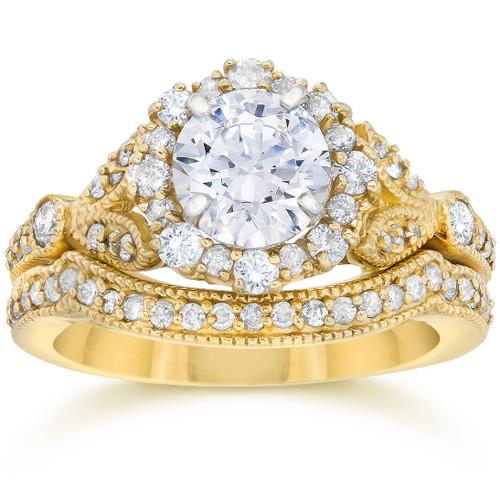 1 1/2ct Enhanced Diamond Engagement Vintage Engagement Ring Matching Yellow Gold (H/I, I1)